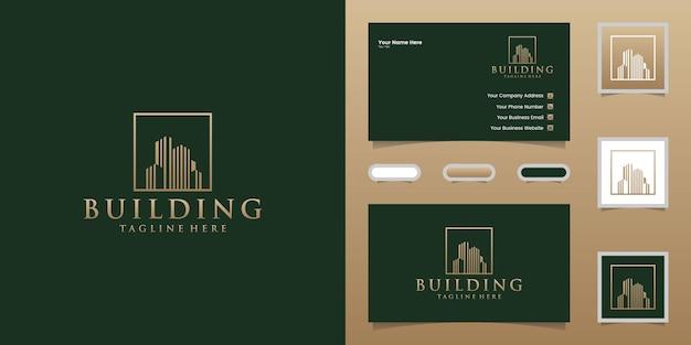 Logotipo do edifício de luxo com modelo de design de estilo de arte de linha quadrada e dourada e cartão de visita
