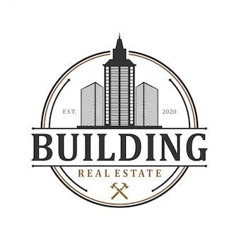 Logotipo do edifício imobiliário - construção de casa empreiteiro identidade janela telhado melhoria home