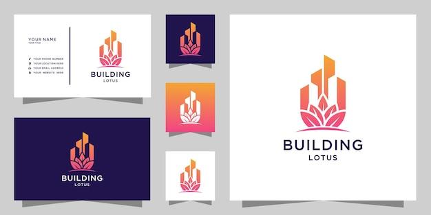 Logotipo do edifício lotus e design de cartão de visita