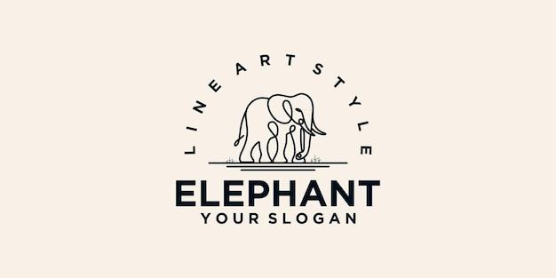 Logotipo do elefante com arte de linha, referência do logotipo para empresas