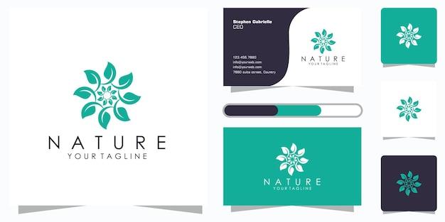 Logotipo do elemento criativo folha floral elegante e cartão de visita. logotipo para beleza, cosméticos, ioga e spa