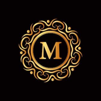 Logotipo do emblema caligráfico vitoriano de luxo retrô antigo com moldura ornamental