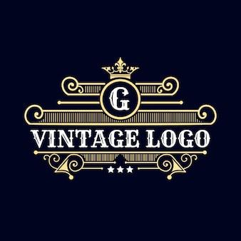 Logotipo do emblema caligráfico vitoriano de luxo retrô antigo com ornamentos