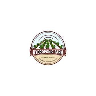 Logotipo do emblema da agricultura hidropônica