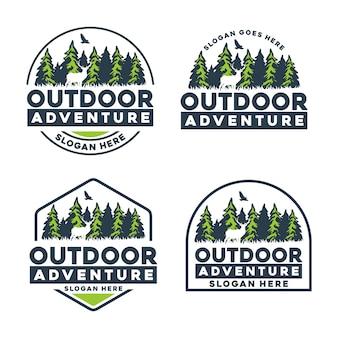 Logotipo do emblema de aventura ao ar livre