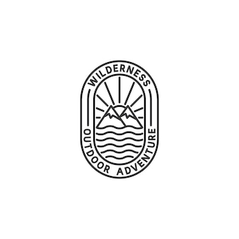 Logotipo do emblema de aventura no estilo monoline