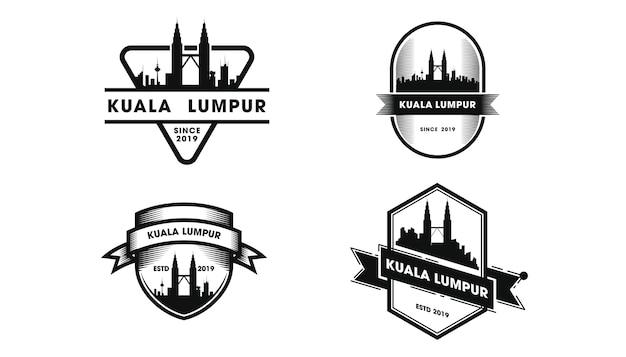 Logotipo do emblema de kuala lumpur. silhueta de kuala lumpur e pontos turísticos