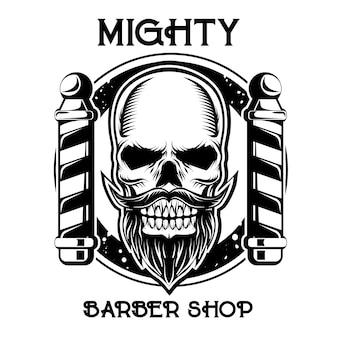 Logotipo do emblema de loja de barbeiro preto e branco