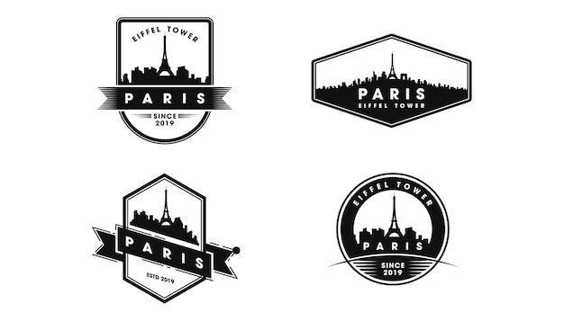 Logotipo do emblema de paris. silhueta do horizonte de paris e pontos turísticos