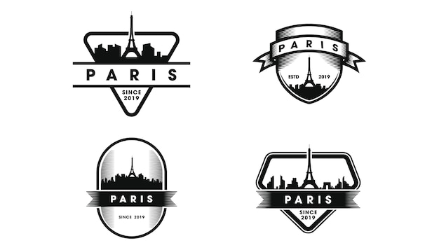 Logotipo do emblema de paris. silhueta do horizonte de paris e pontos turísticos