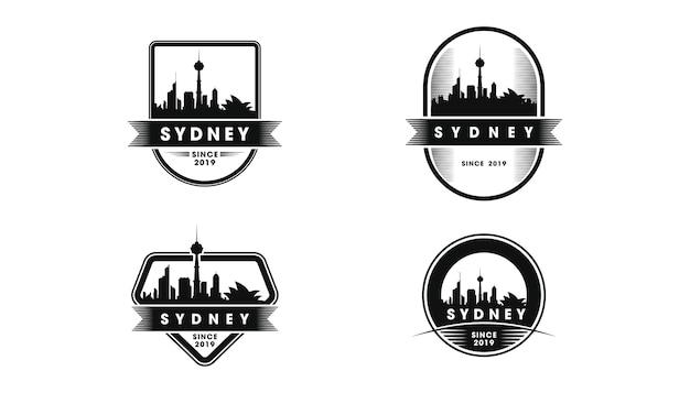 Logotipo do emblema de sydney. silhueta do horizonte e pontos turísticos de sydney