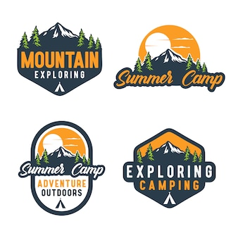 Logotipo do emblema do acampamento de verão vintage