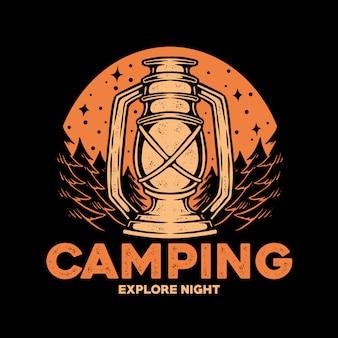 Logotipo do emblema do camping