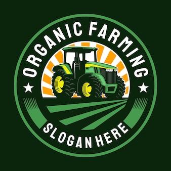 Logotipo do emblema do círculo da fazenda de trator