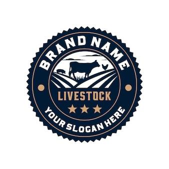 Logotipo do emblema do círculo de gado de fazenda