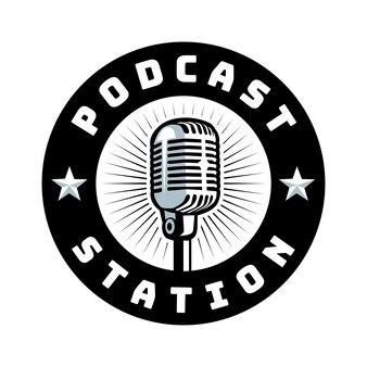 Logotipo do emblema do círculo de podcast