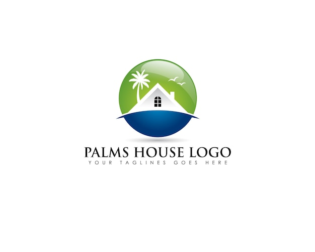 Logotipo do emblema do círculo sobre imóveis de praia com casa branca e coqueiro atrás