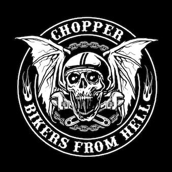 Logotipo do emblema do emblema do motociclista com caveira