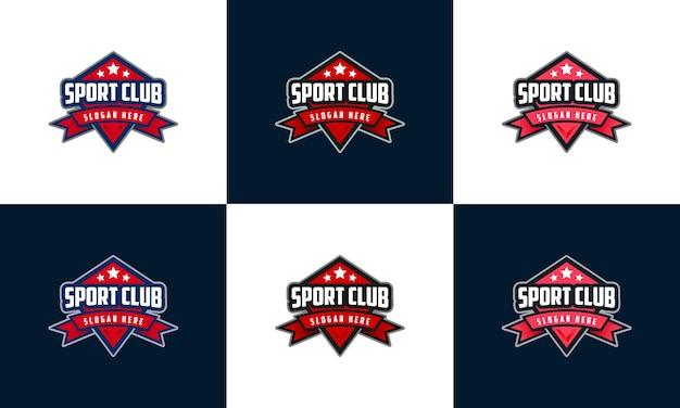 Logotipo do emblema do esporte, conjunto de emblema modelo de logotipo do esport