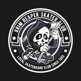 Logotipo do emblema do grim reaper skater club