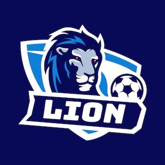 Logotipo do emblema do lion head soccer