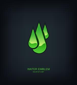 Logotipo do emblema do modelo abstrato de água, ecologia, ideia universal de tecnologia de negócios
