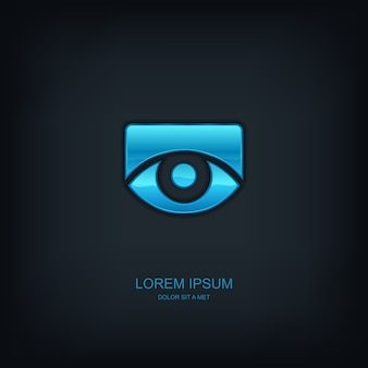 Logotipo do emblema do modelo abstrato do olho, ideia universal de tecnologia de negócios