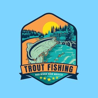 Logotipo do emblema esportivo de pesca de trutas