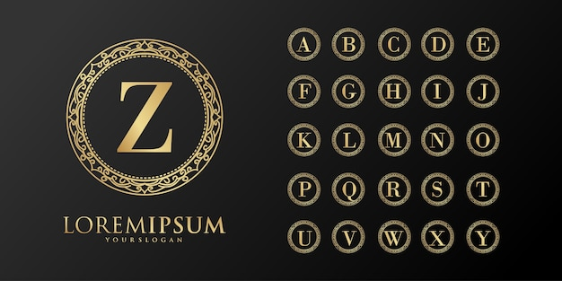 Logotipo do emblema inicial da alphabet luxury
