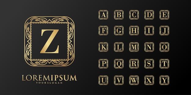 Logotipo do emblema inicial da alphabet luxury