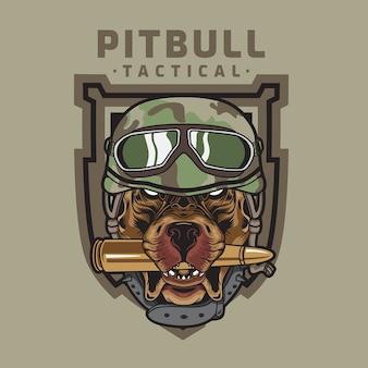 Logotipo do emblema militar do exército tático americano pitbull