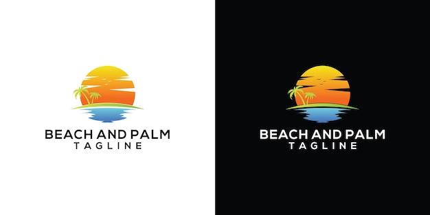 Logotipo do emblema retrô vintage de palm e praia