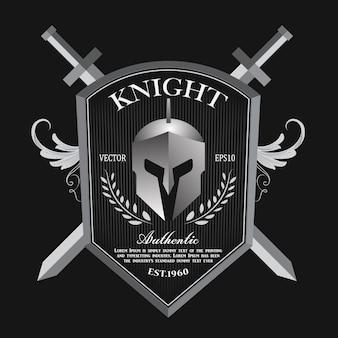Logotipo do emblema vintage do escudo e capacete de cavaleiro