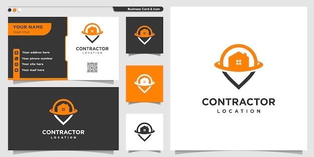 Logotipo do empreiteiro com estilo de contorno de localização de pino e design de cartão de visita premium vector
