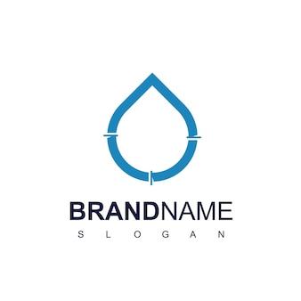 Logotipo do encanamento com o contorno do tubo na gota e símbolo de água