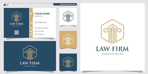 Logotipo do escritório de advocacia com estilo de arte de linha e modelo de design de cartão de visita