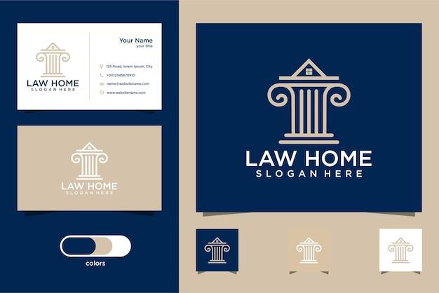 Logotipo do escritório de advocacia, design da coroa da casa e cartão de visita