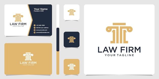 Logotipo do escritório de advocacia e modelo de design de cartão de visita