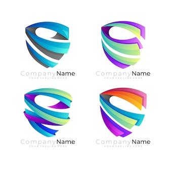 Logotipo do escudo abstrato com vetor de design colorido, logotipos de segurança