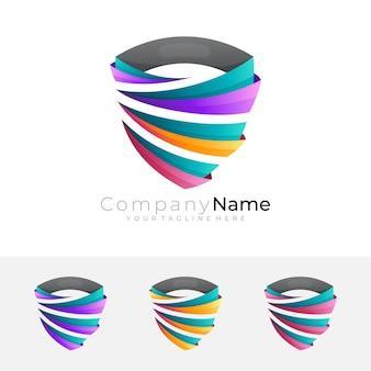 Logotipo do escudo com combinação de design de fita, estilo colorido