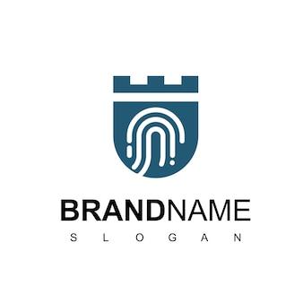 Logotipo do escudo com o símbolo de impressão digital, design for secure company