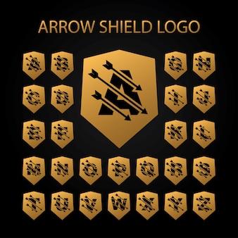 Logotipo do escudo de seta com o conjunto de letra do alfabeto