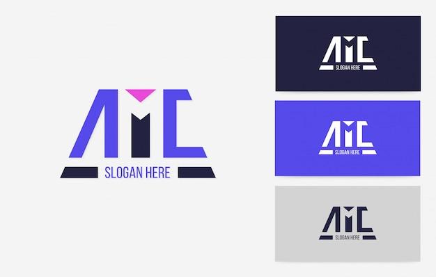 Logotipo do espaço negativo da amc, vetor do conceito de negócio de marca de esporte