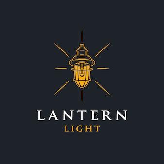 Logotipo do espaço negativo da luz da lanterna