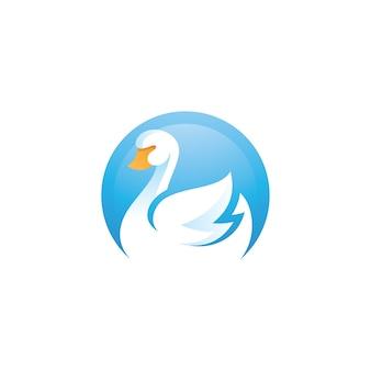 Logotipo do espaço negativo do pato de ganso