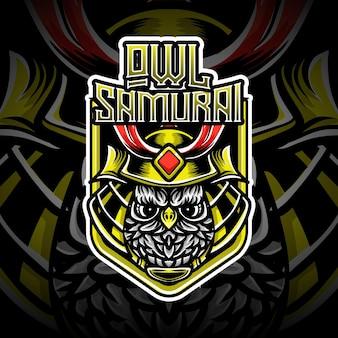 Logotipo do esport com coruja samurai personagem