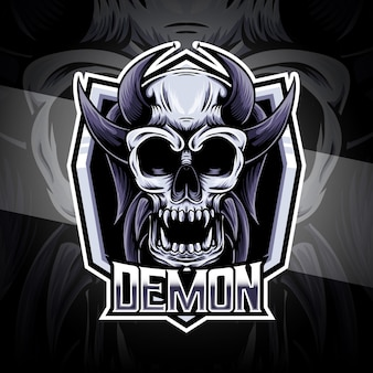 Logotipo do esport com ícone de personagem demoníaco