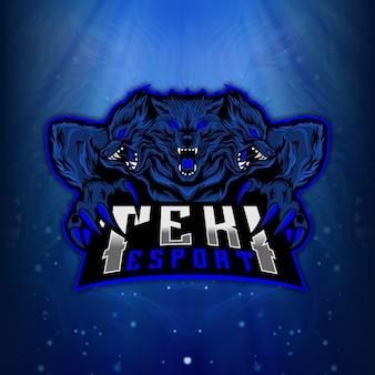 Logotipo do esport mascot cerberus