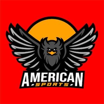 Logotipo do esporte americano de águia negra