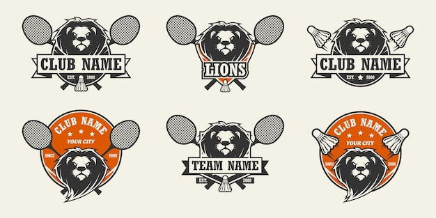 Logotipo do esporte cabeça de leão. conjunto de logotipos de badminton.